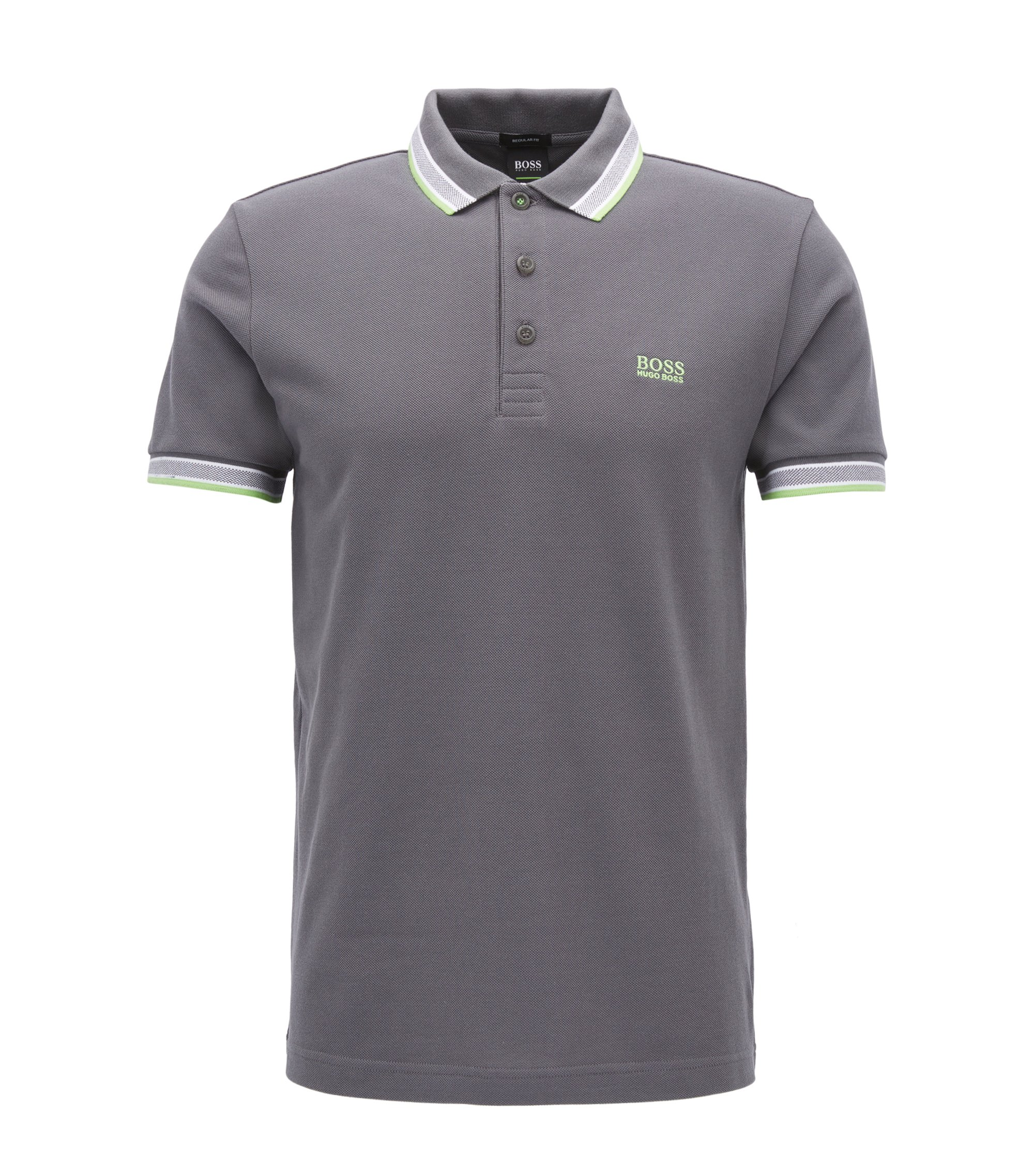 Regular-fit polo shirt in knitted piqué, Anthracite