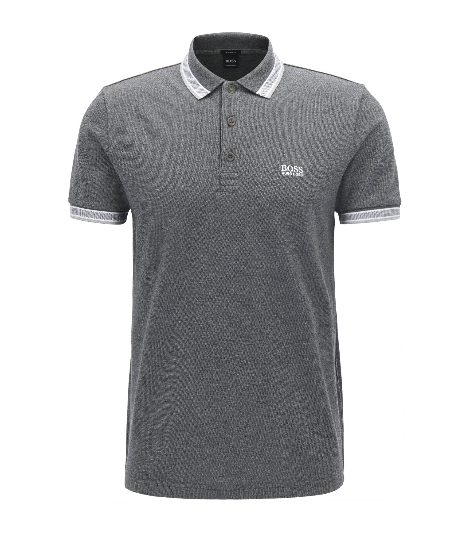 Polo regular fit en piqué de punto, Gris