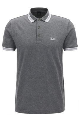 Regular-fit polo shirt in knitted piqué, Grey