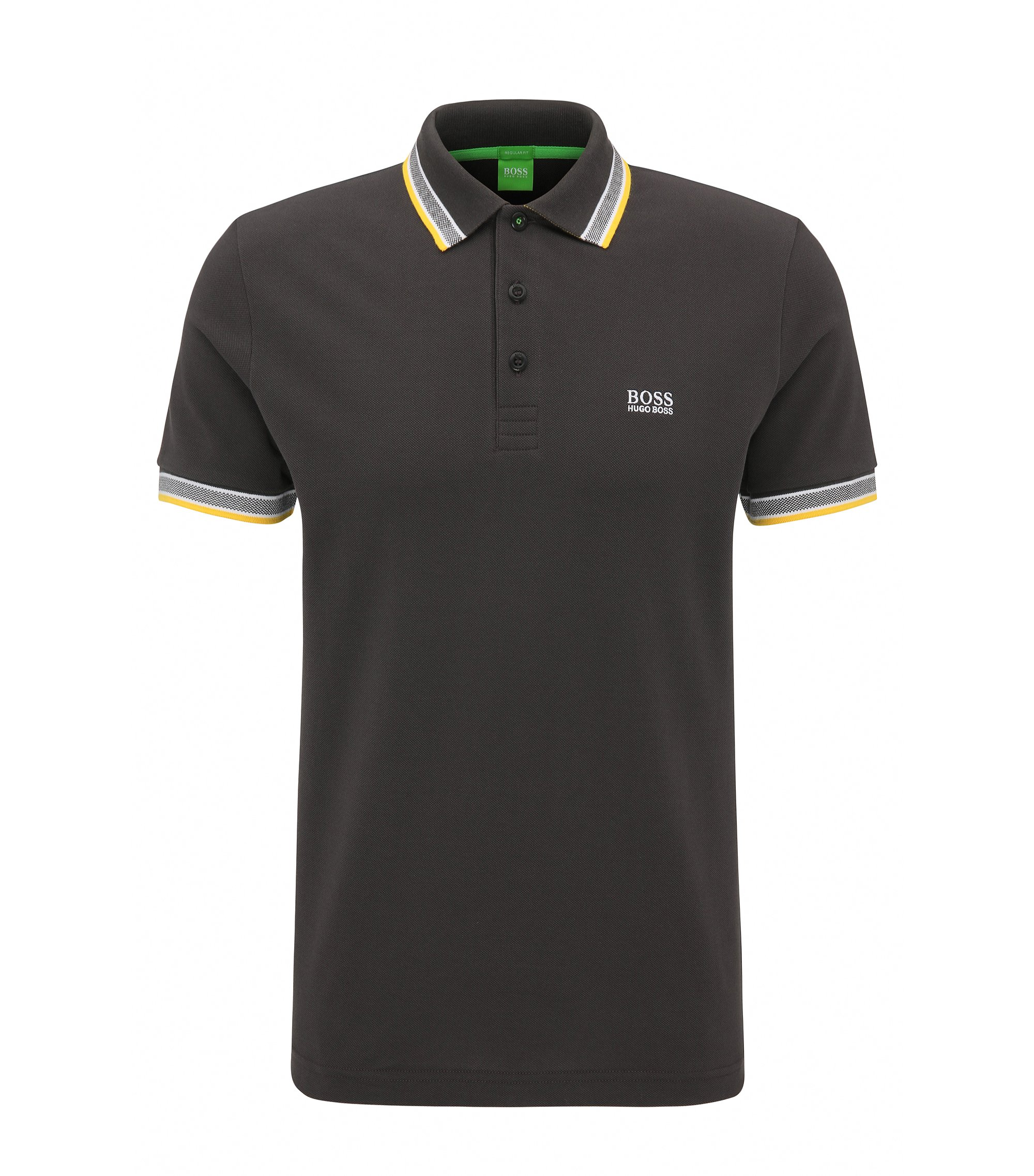 Regular-Fit Poloshirt aus Baumwoll-Piqué, Anthrazit