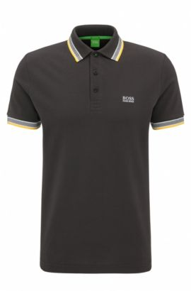 Regular-fit polo shirt in knitted piqué, Silver