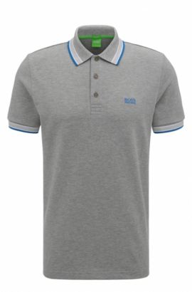 Polo Regular Fit en maille piquée, Argent