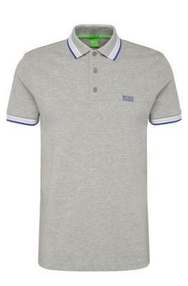 Regular-Fit Poloshirt aus Baumwoll-Piqué, Silber