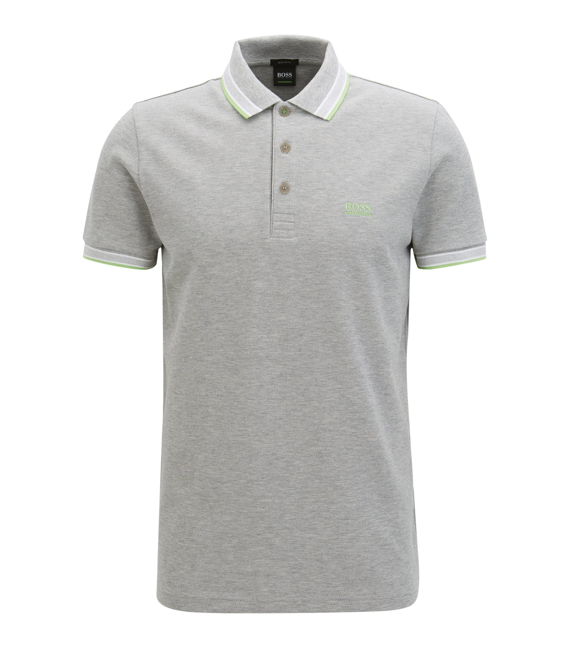 Regular-fit polo shirt in knitted piqué, Light Grey