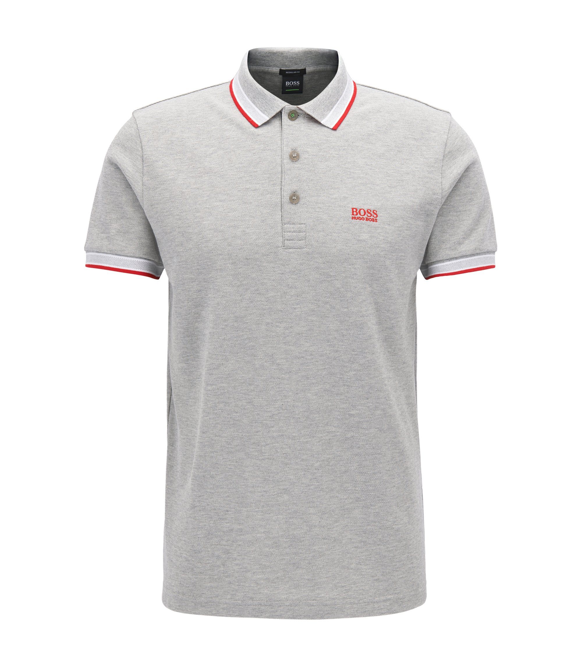 Polo regular fit en piqué de punto, Gris claro