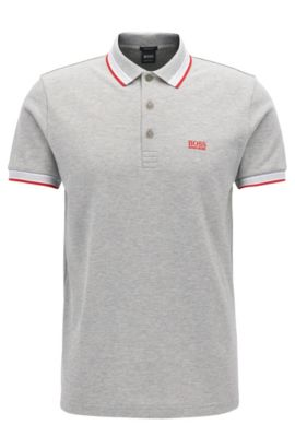 Polo Regular Fit en maille piquée, Gris chiné