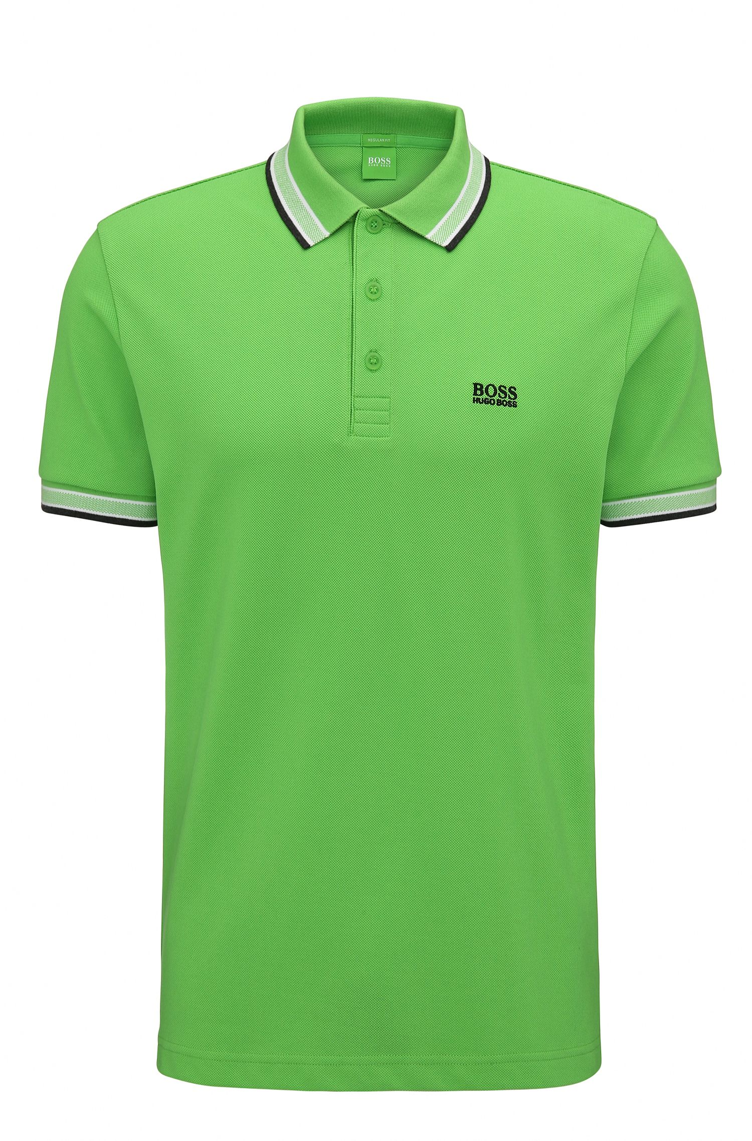 Regular-fit polo shirt in knitted piqué, Green