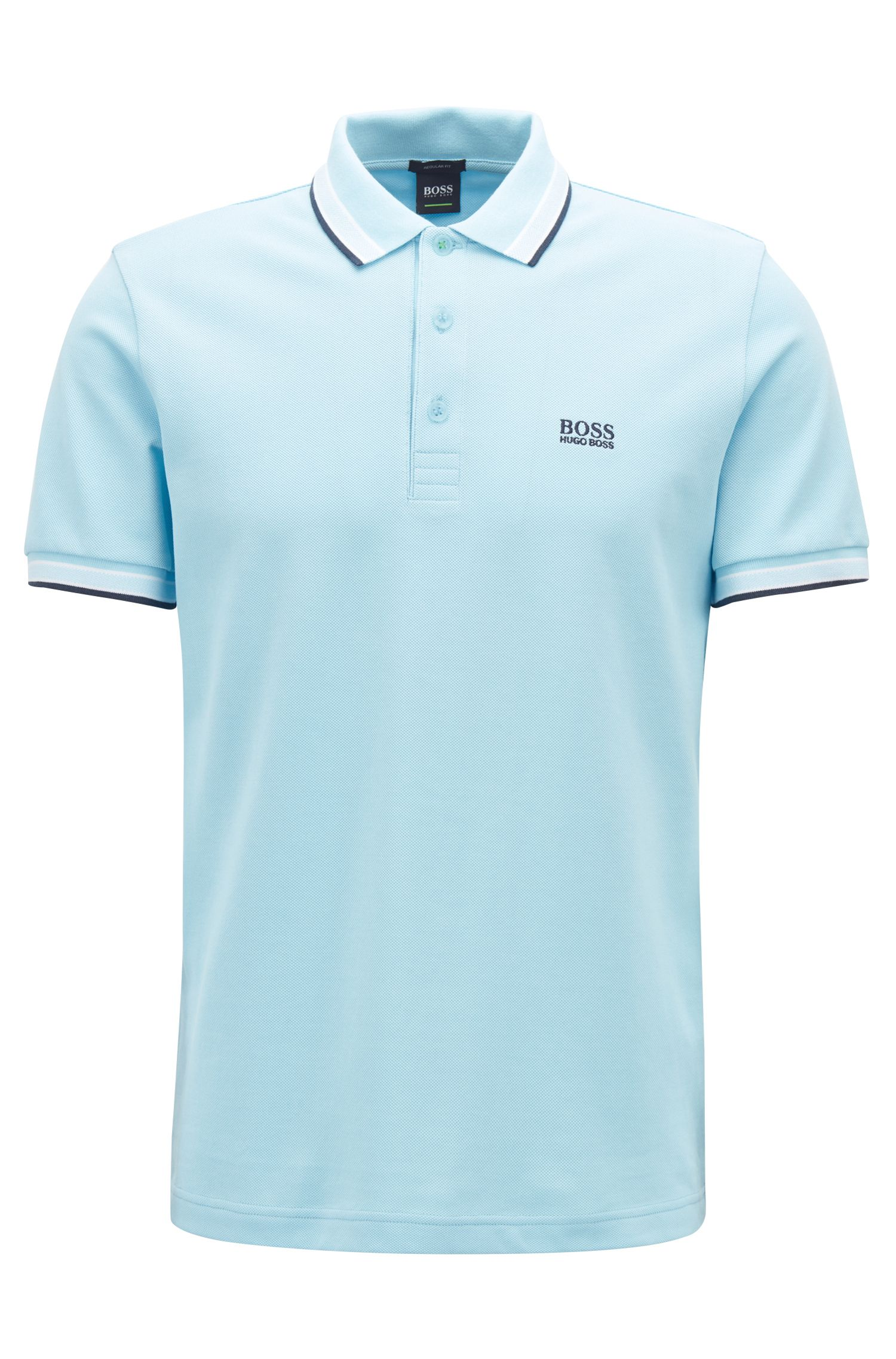Regular-fit polo shirt in knitted piqué, Light Blue