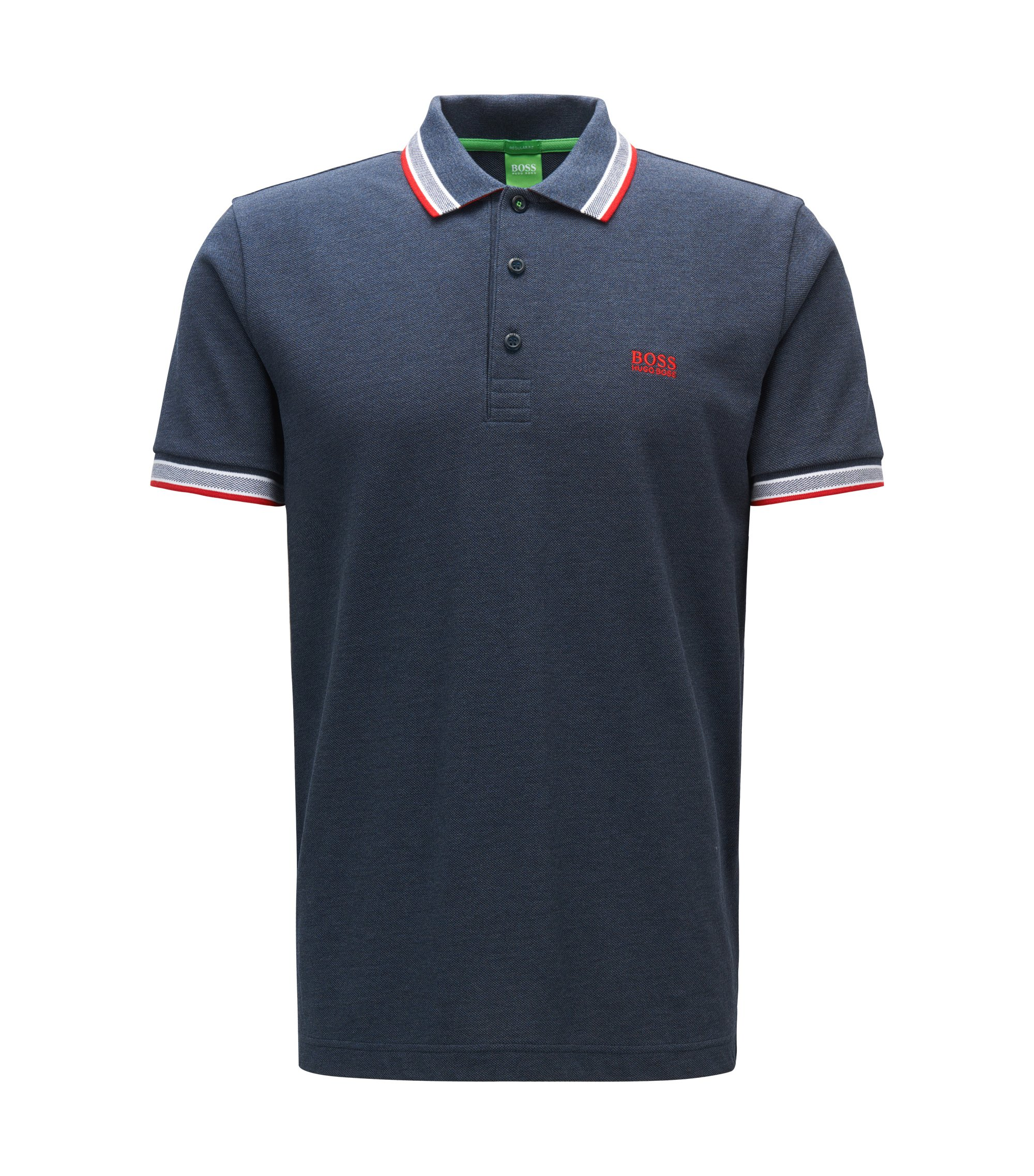 Polo regular fit in piqué, Blu scuro
