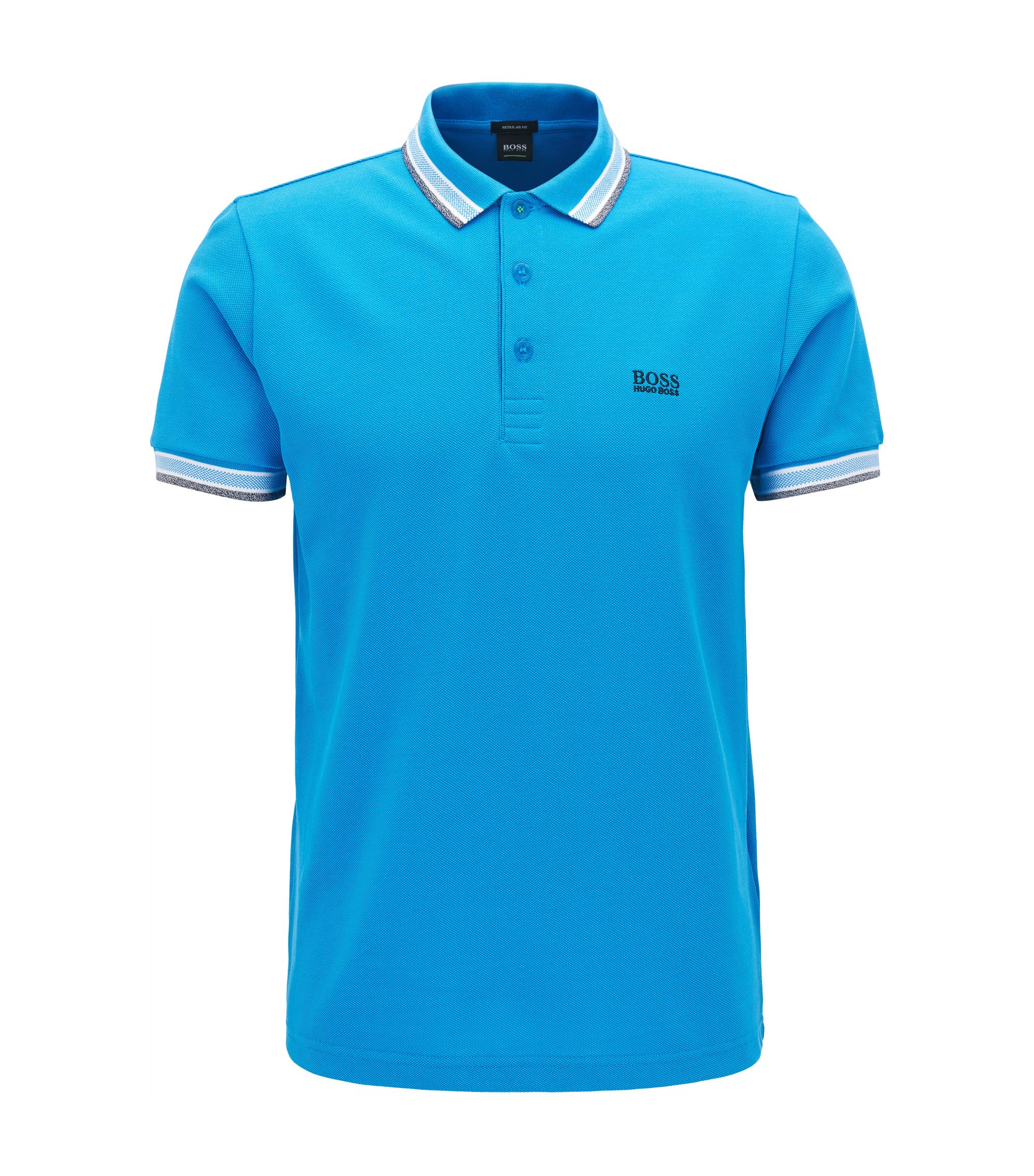 Polo regular fit en piqué de punto, Turquesa