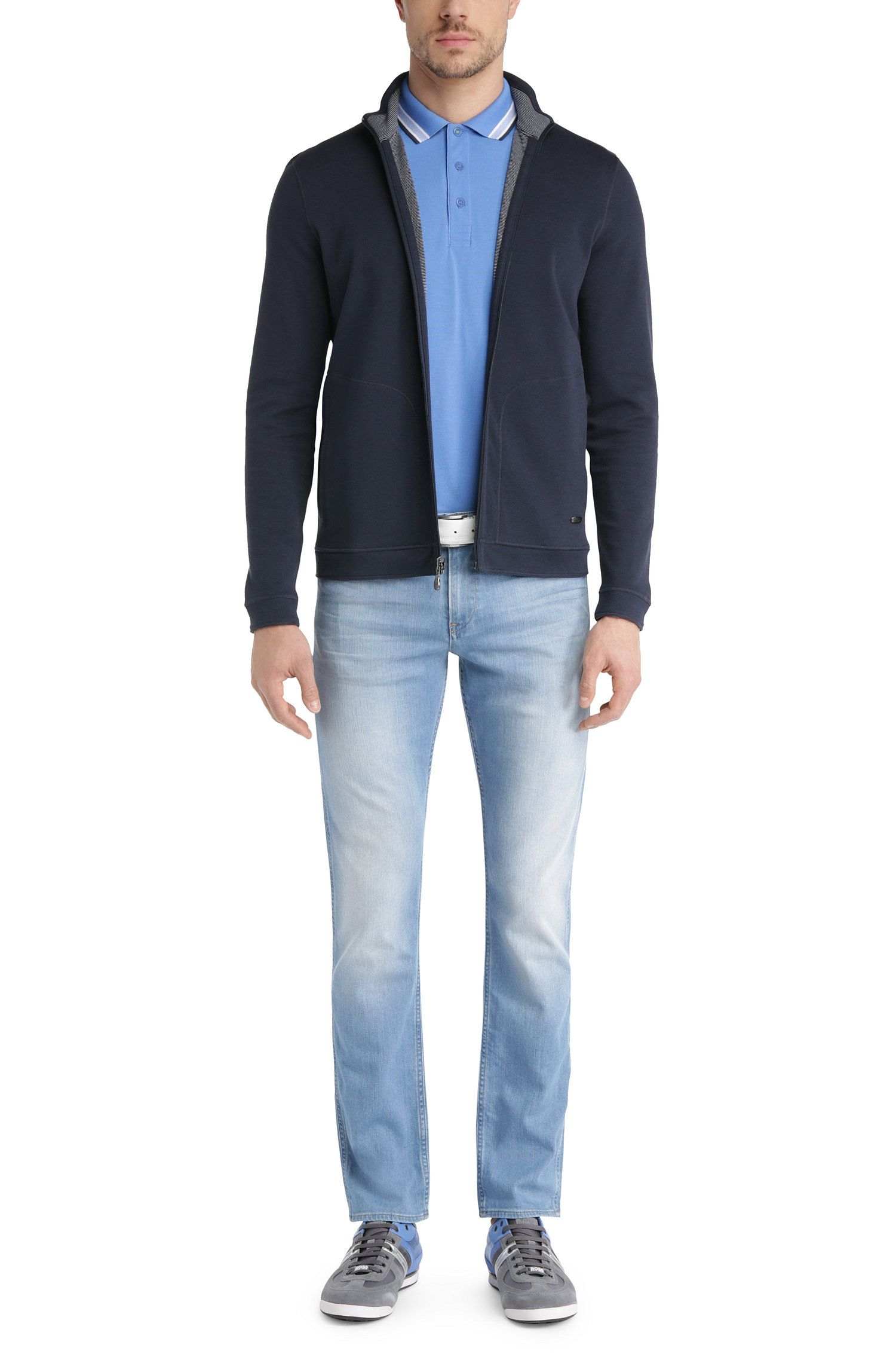 Regular-Fit Poloshirt aus Baumwoll-Piqué, Blau