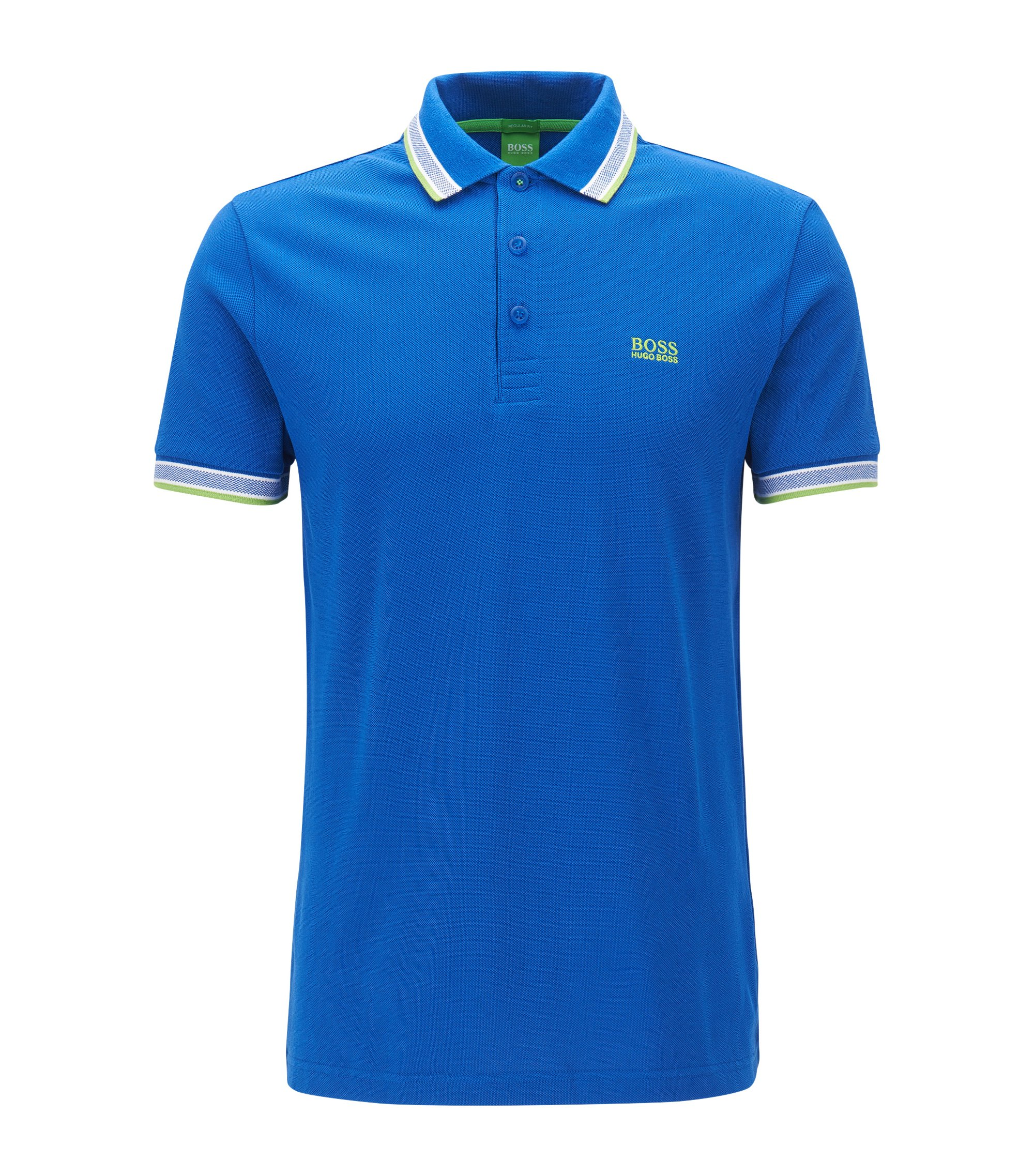 Polo regular fit en piqué de punto, Azul