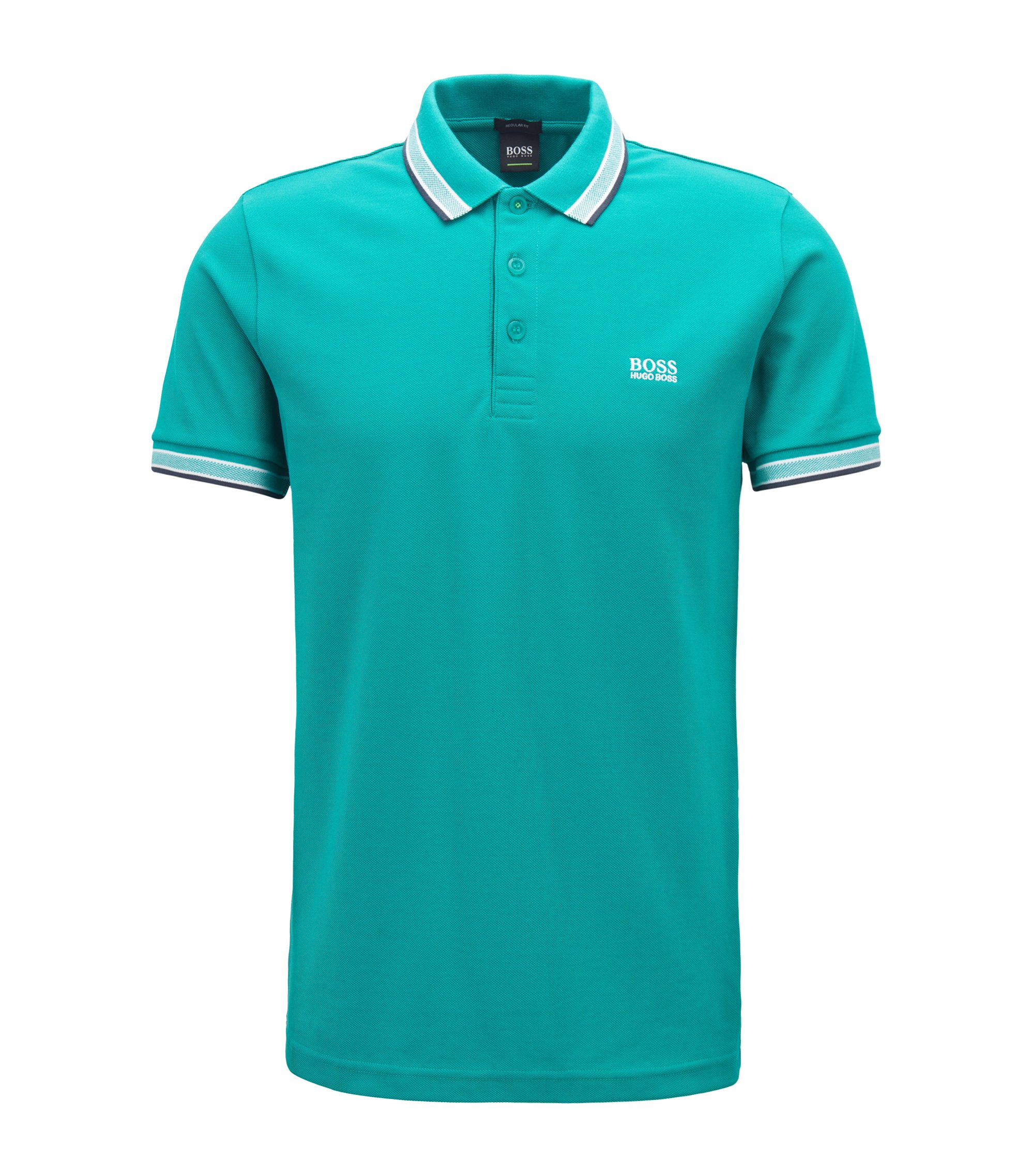 Regular-fit polo shirt in knitted piqué, Turquoise
