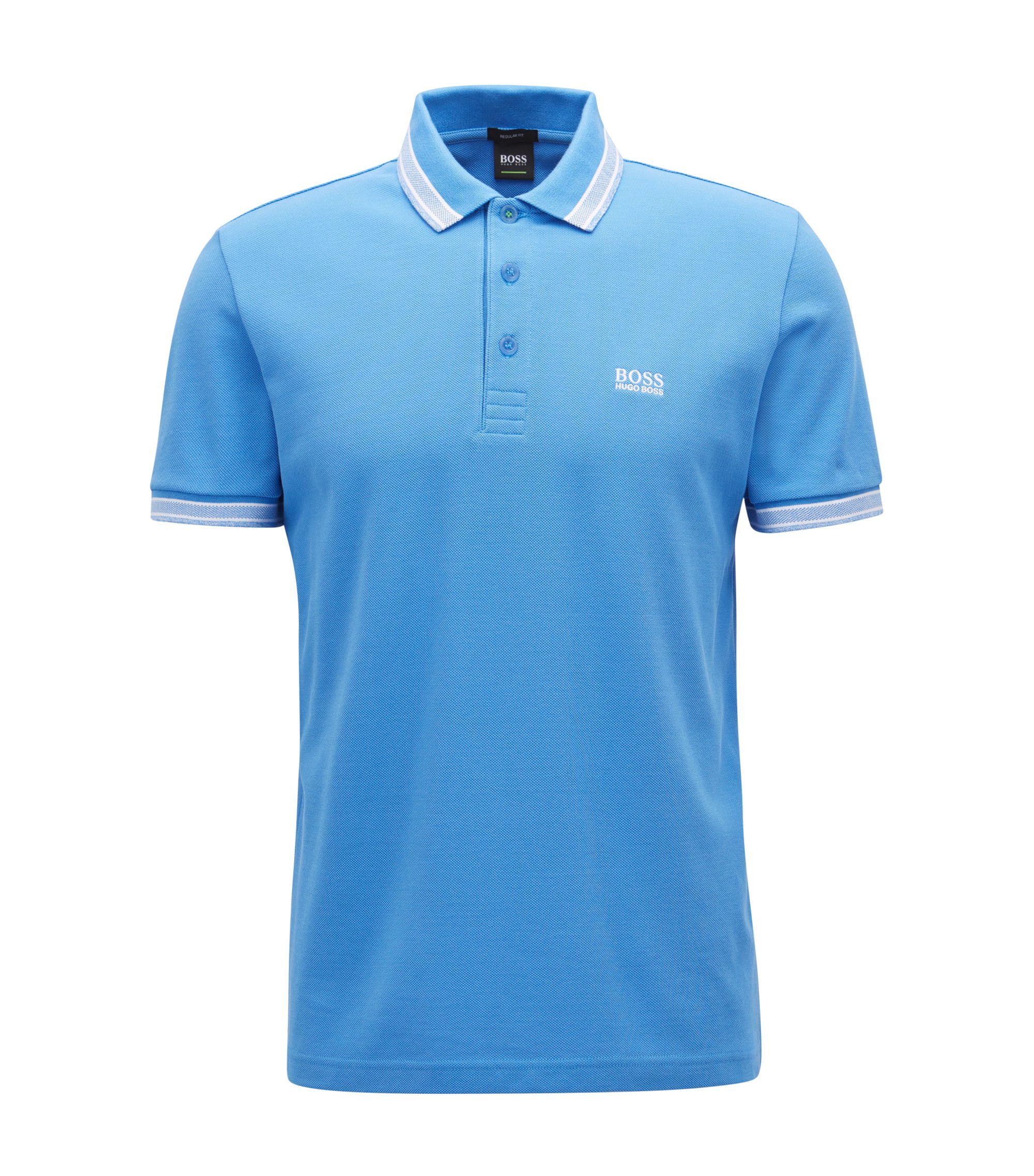 Regular-fit polo shirt in knitted piqué, Blue