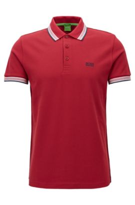 Regular-fit polo shirt in knitted piqué, Dark Red