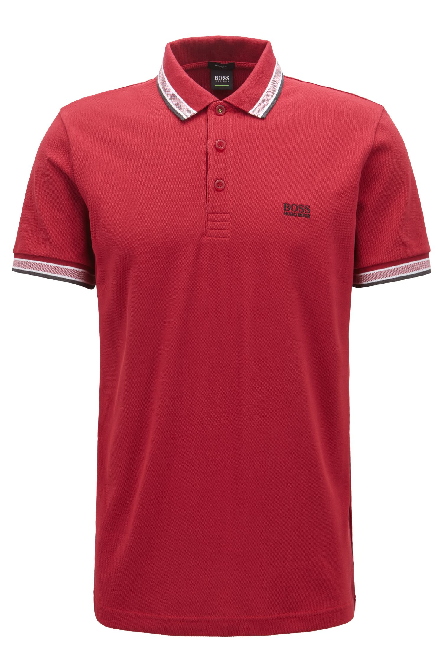 Polo regular fit in piqué, Rosso scuro