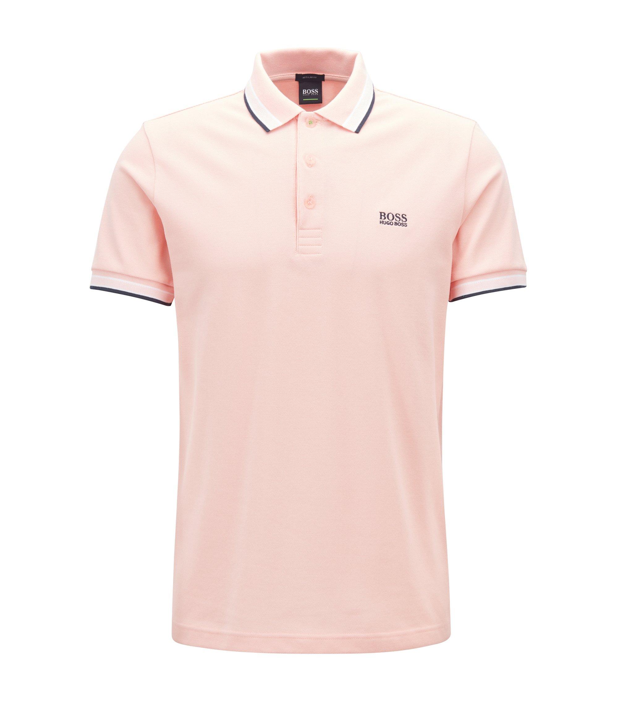 Regular-Fit Poloshirt aus Baumwoll-Piqué, Hellrosa