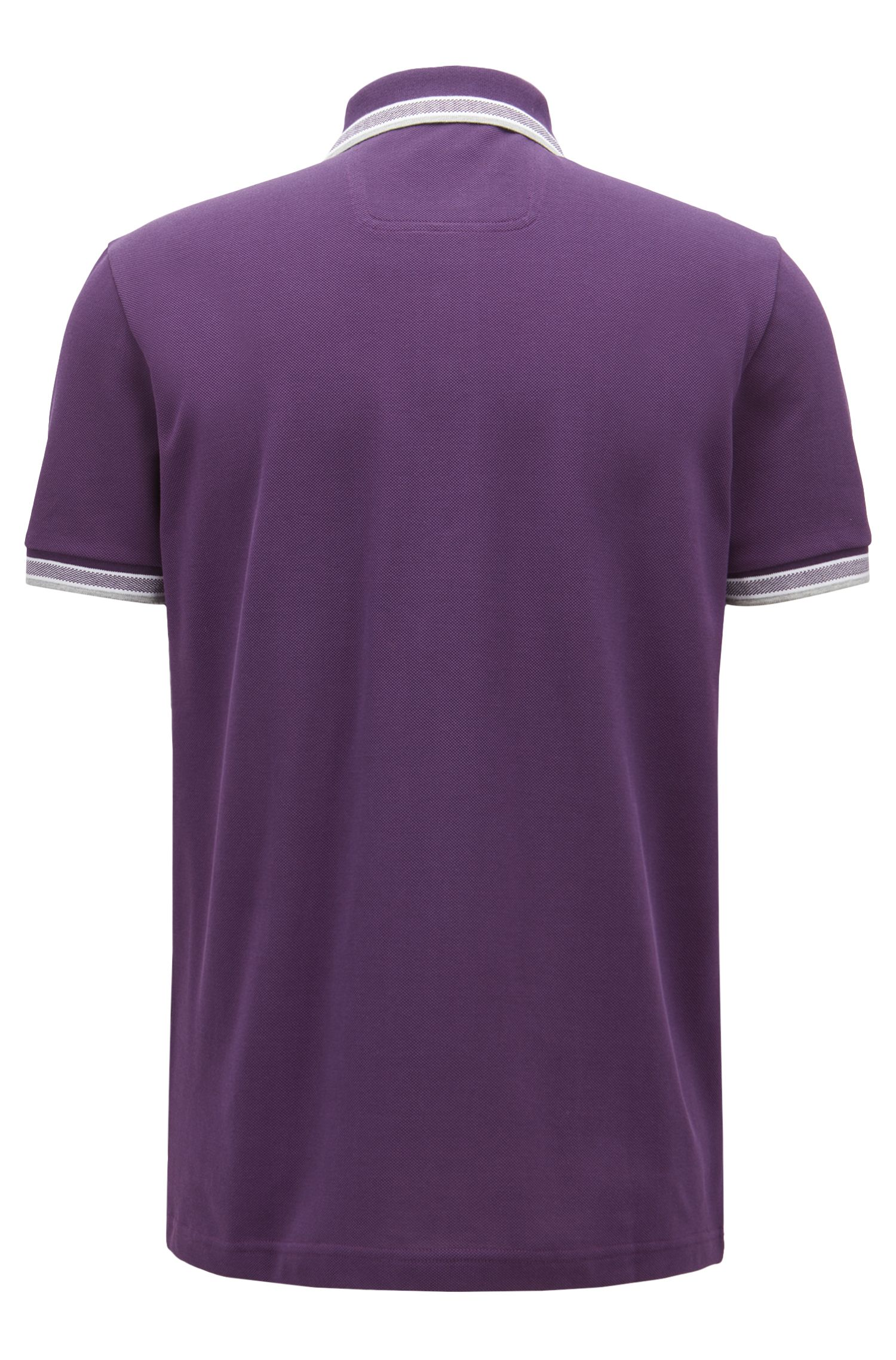 Regular-fit polo shirt in knitted piqué, Dark Purple