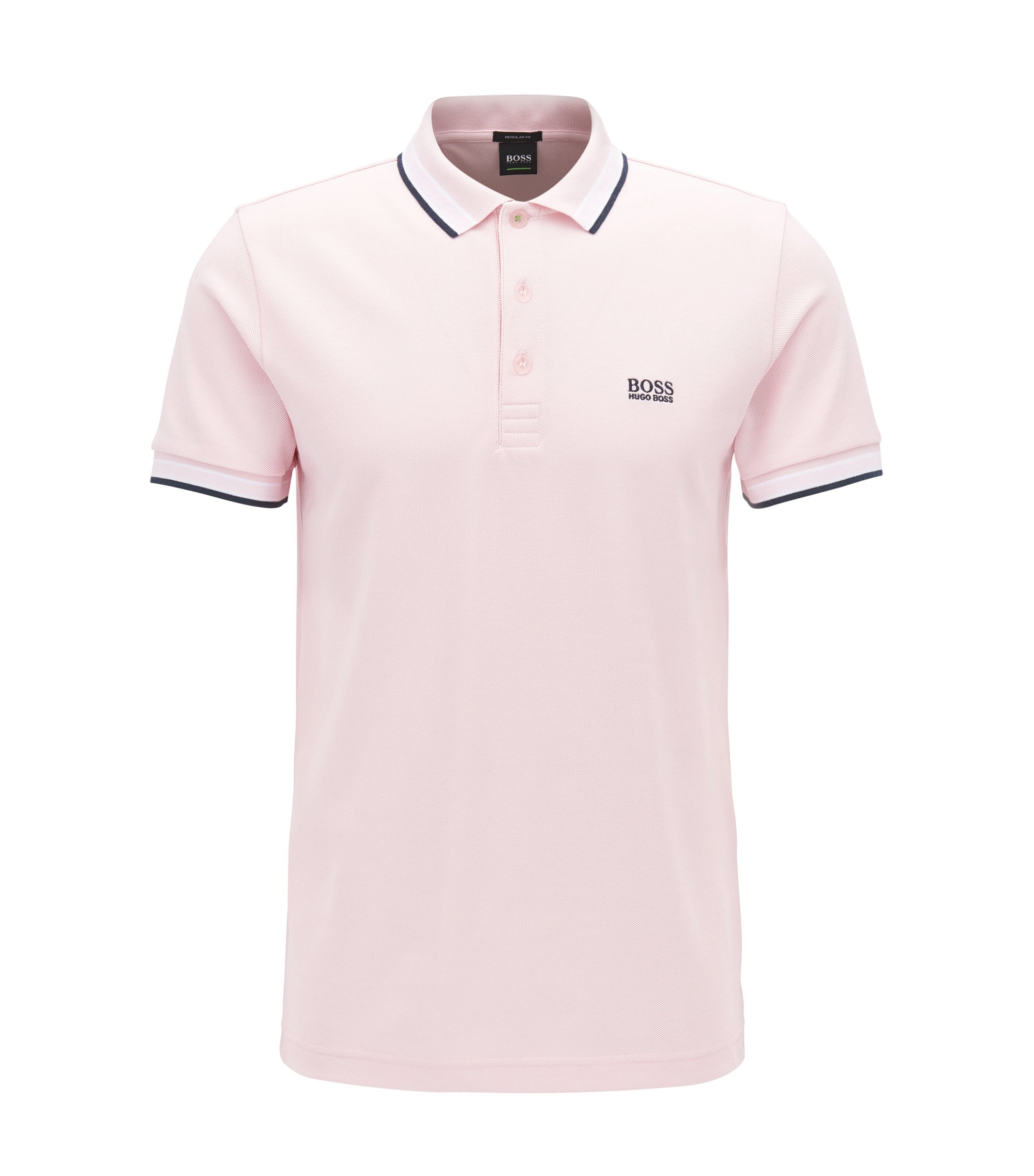 Polo regular fit in piqué, Rosa chiaro