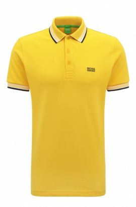 Regular-fit polo shirt in knitted piqué, Yellow