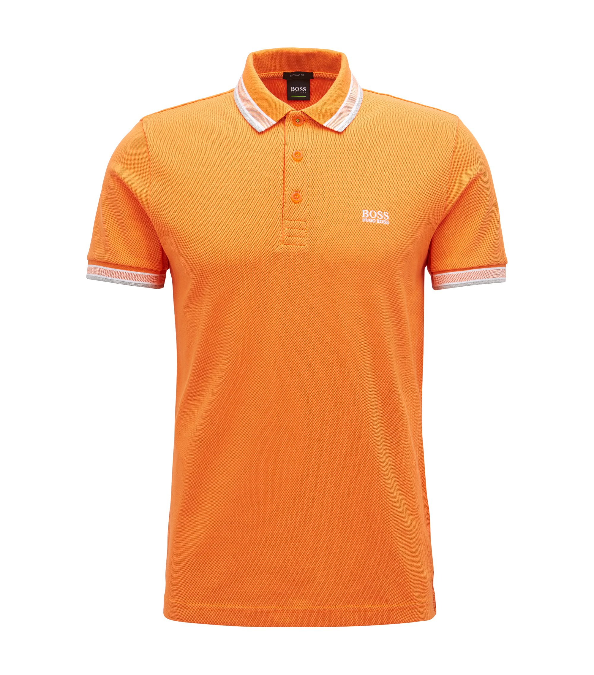 Regular-fit polo shirt in knitted piqué, Orange