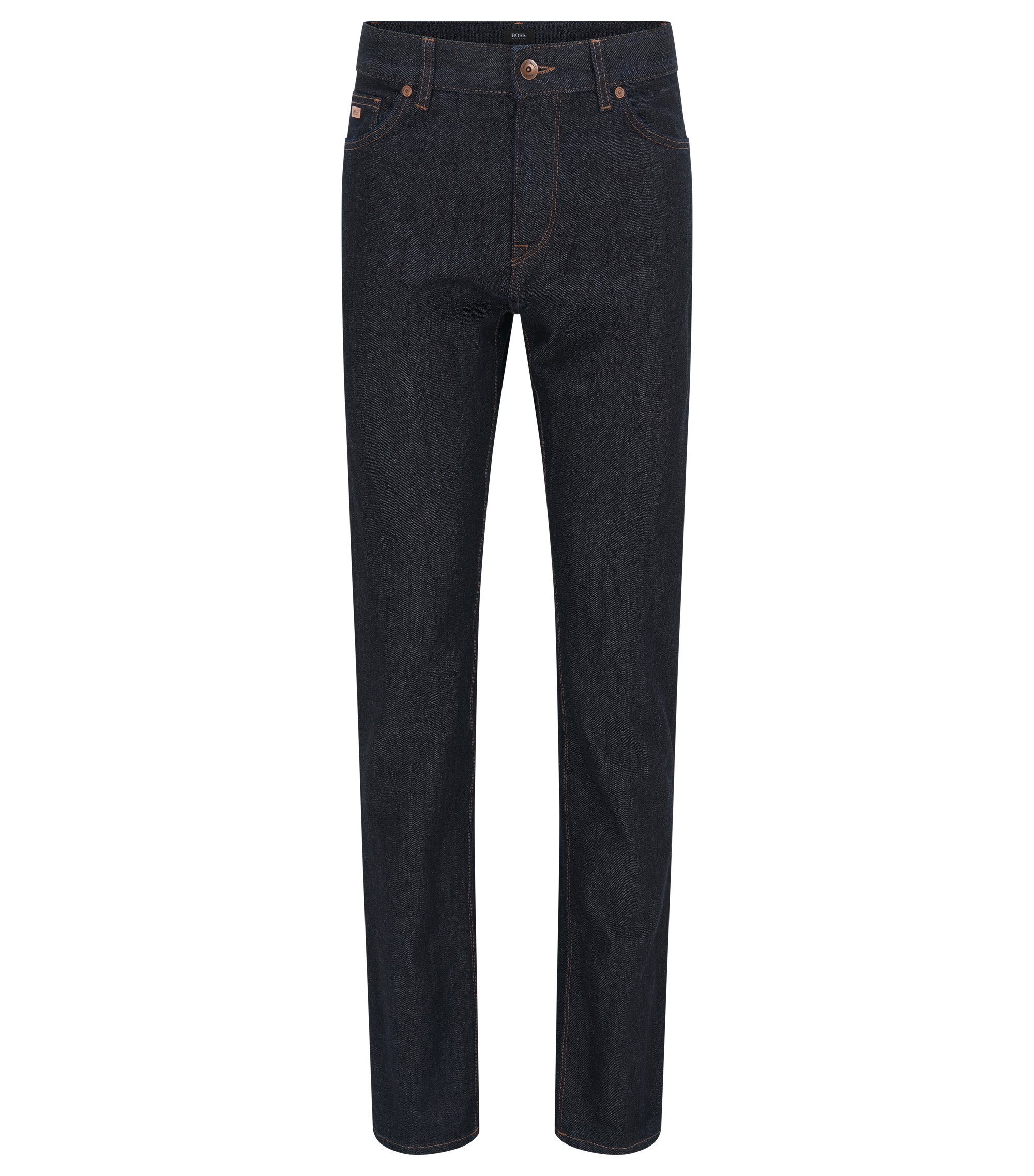 Jeans regular fit in denim elasticizzato, Blu scuro