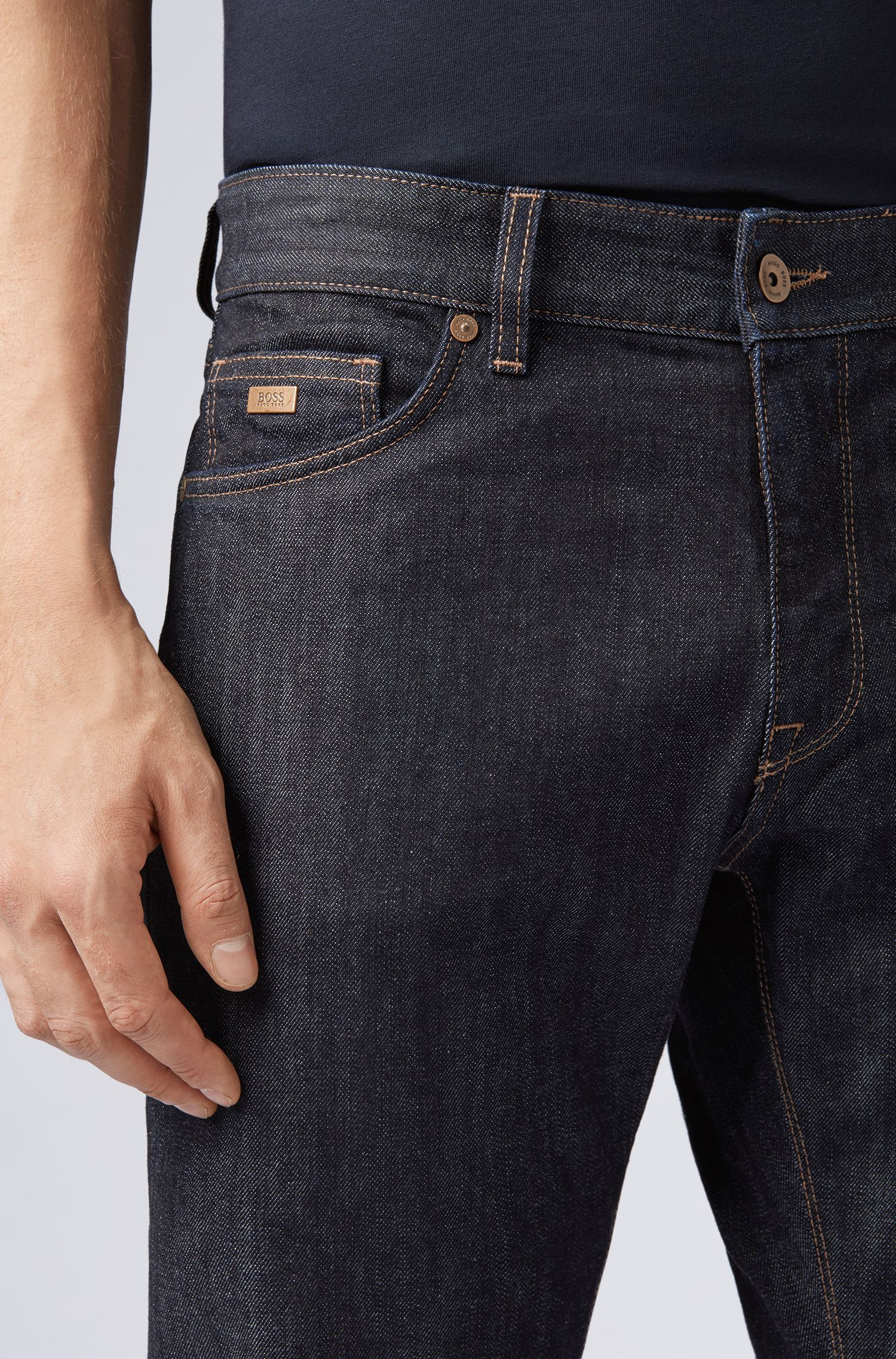 Jeans Regular Fit en denim stretch, Bleu foncé