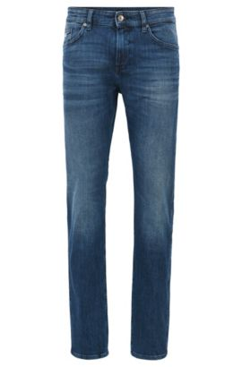 Jeans slim fit in denim con lavaggio medio , Blu