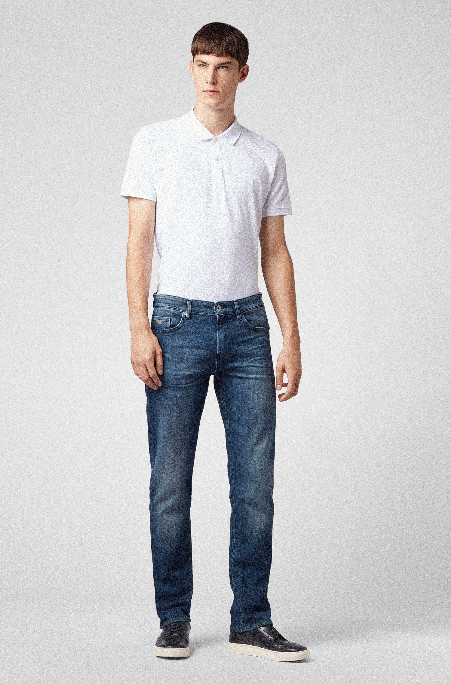 Slim-Fit Jeans aus elastischem Denim, Blau