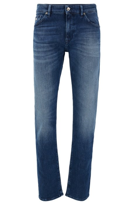 Jeans regular fit in comodo denim elasticizzato blu scuro, Blu