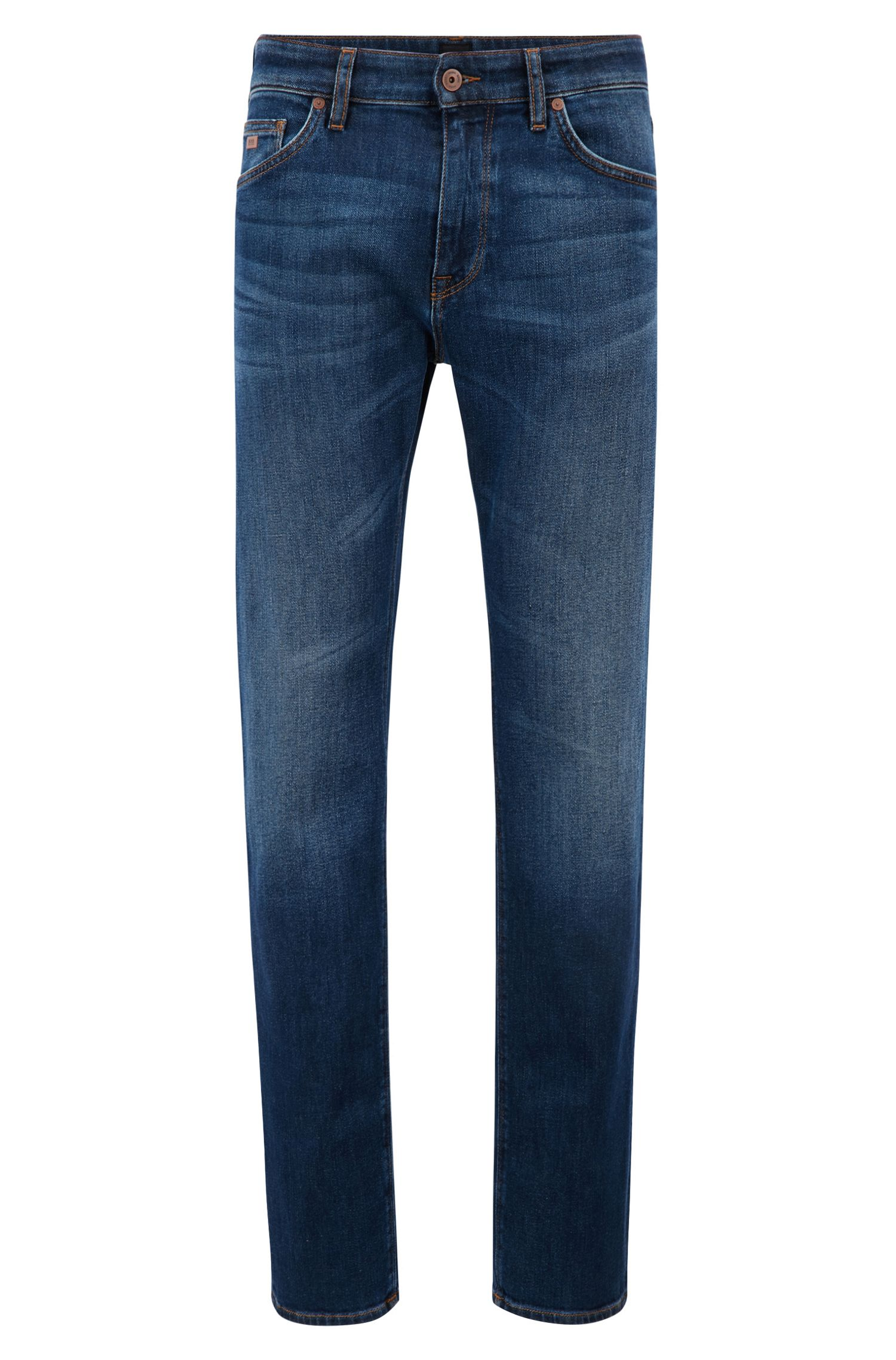 Jeans regular fit in denim elasticizzato, Blu