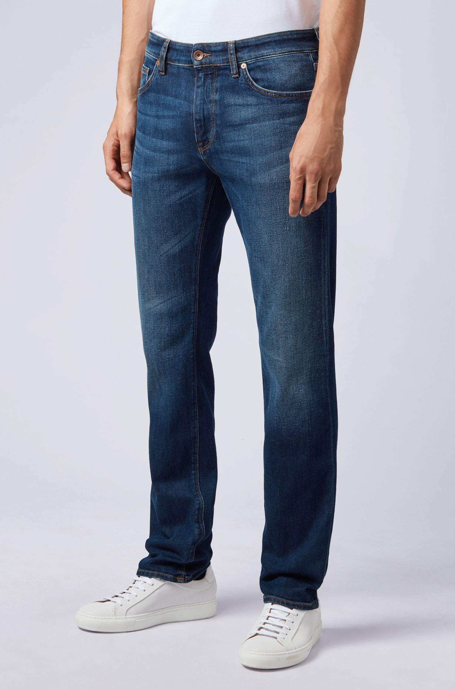 Regular-fit jeans in stretch denim, Blue