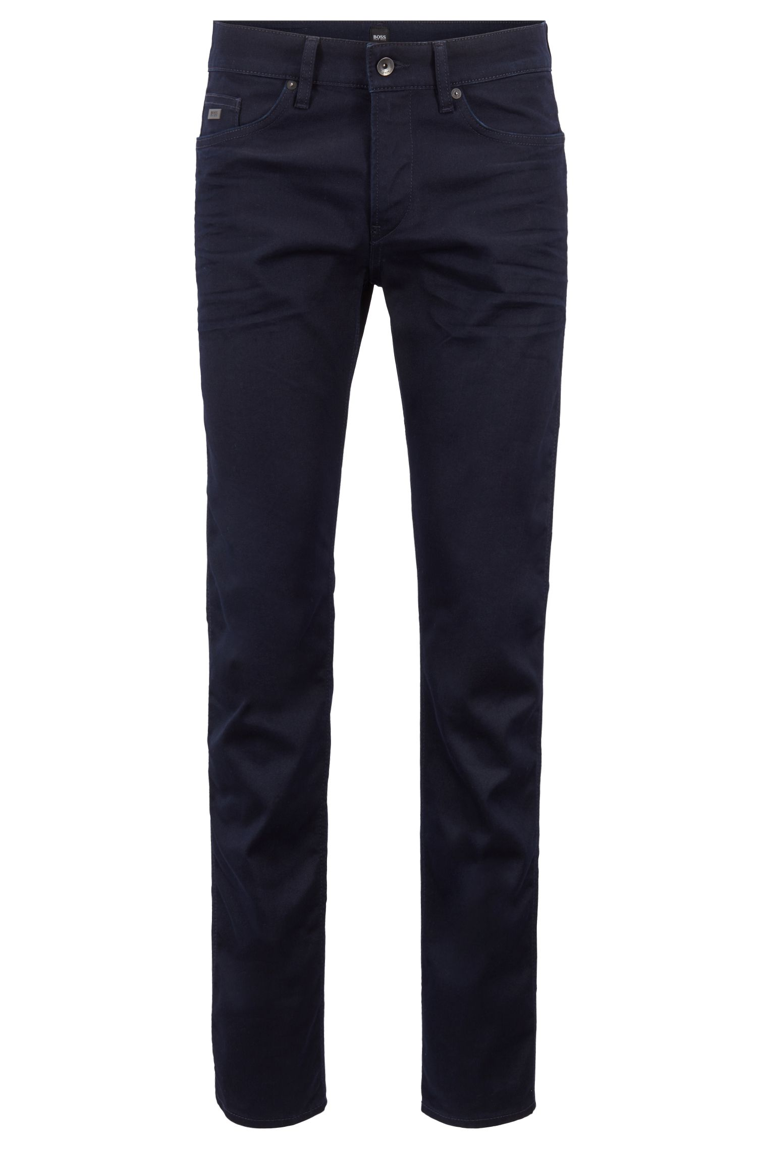 Slim-fit jeans in fine Italian denim, Dark Blue
