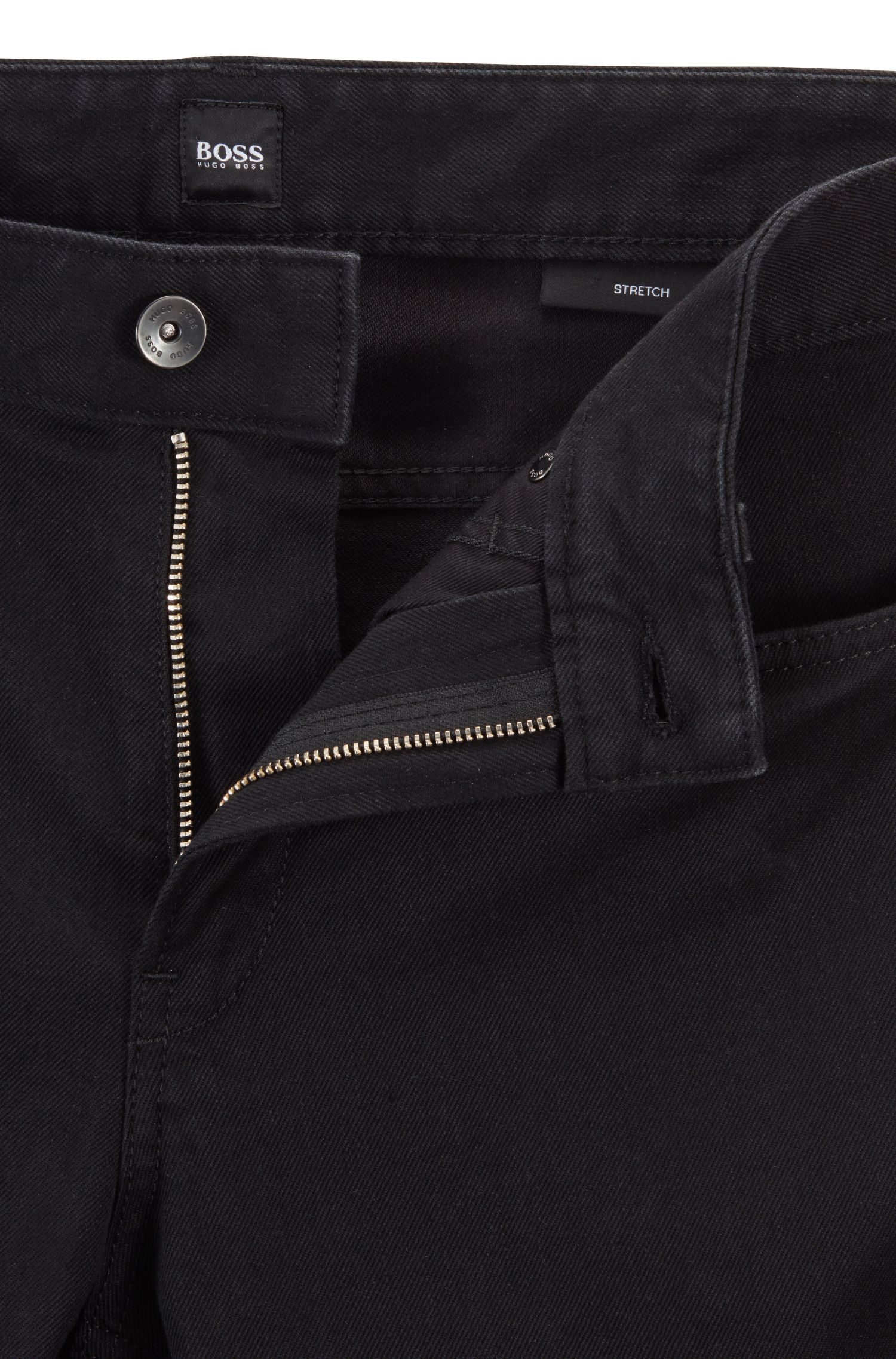 Vaqueros slim fit en denim elástico, Negro