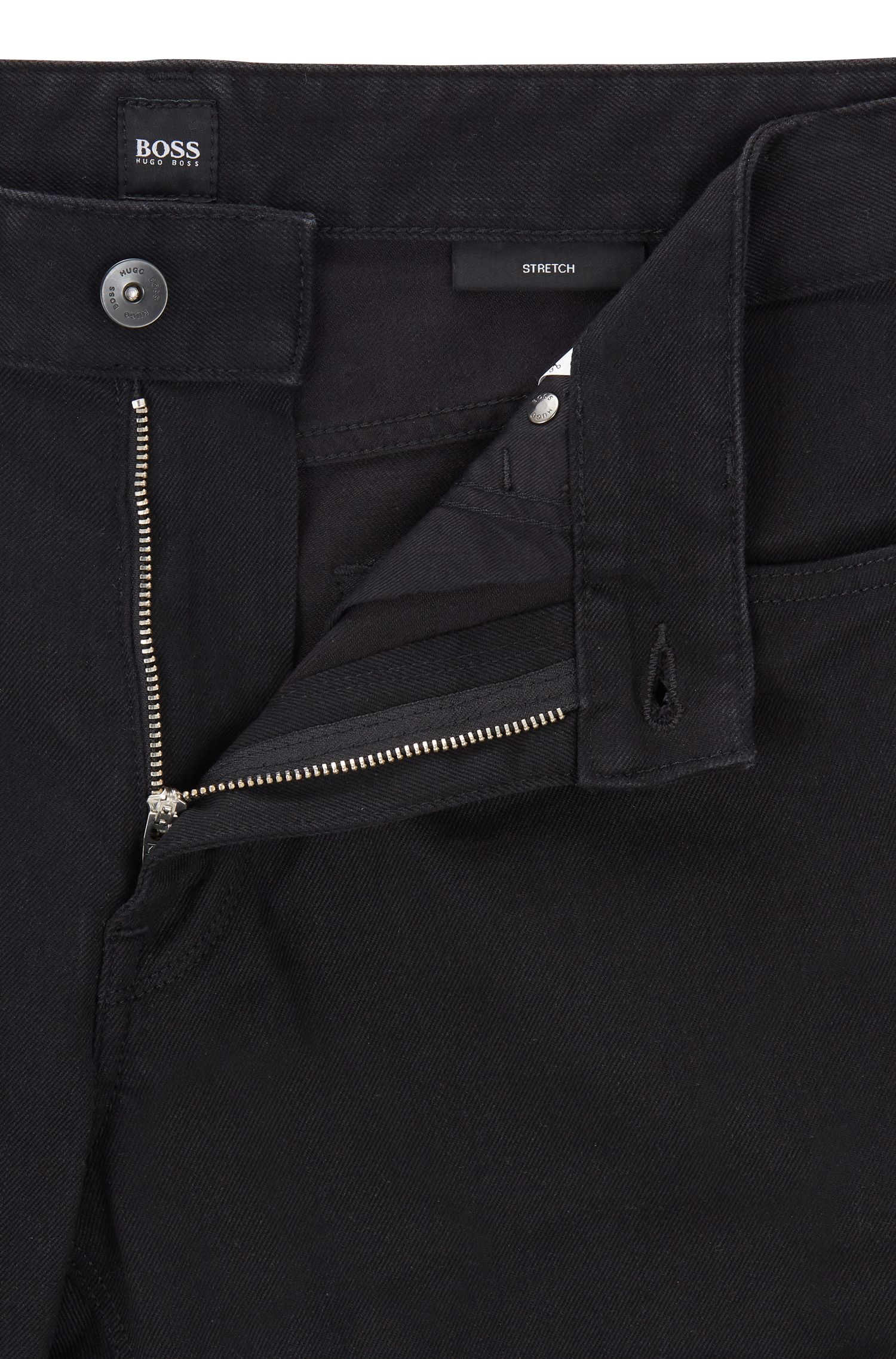 Jeans regular fit in denim elasticizzato, Nero