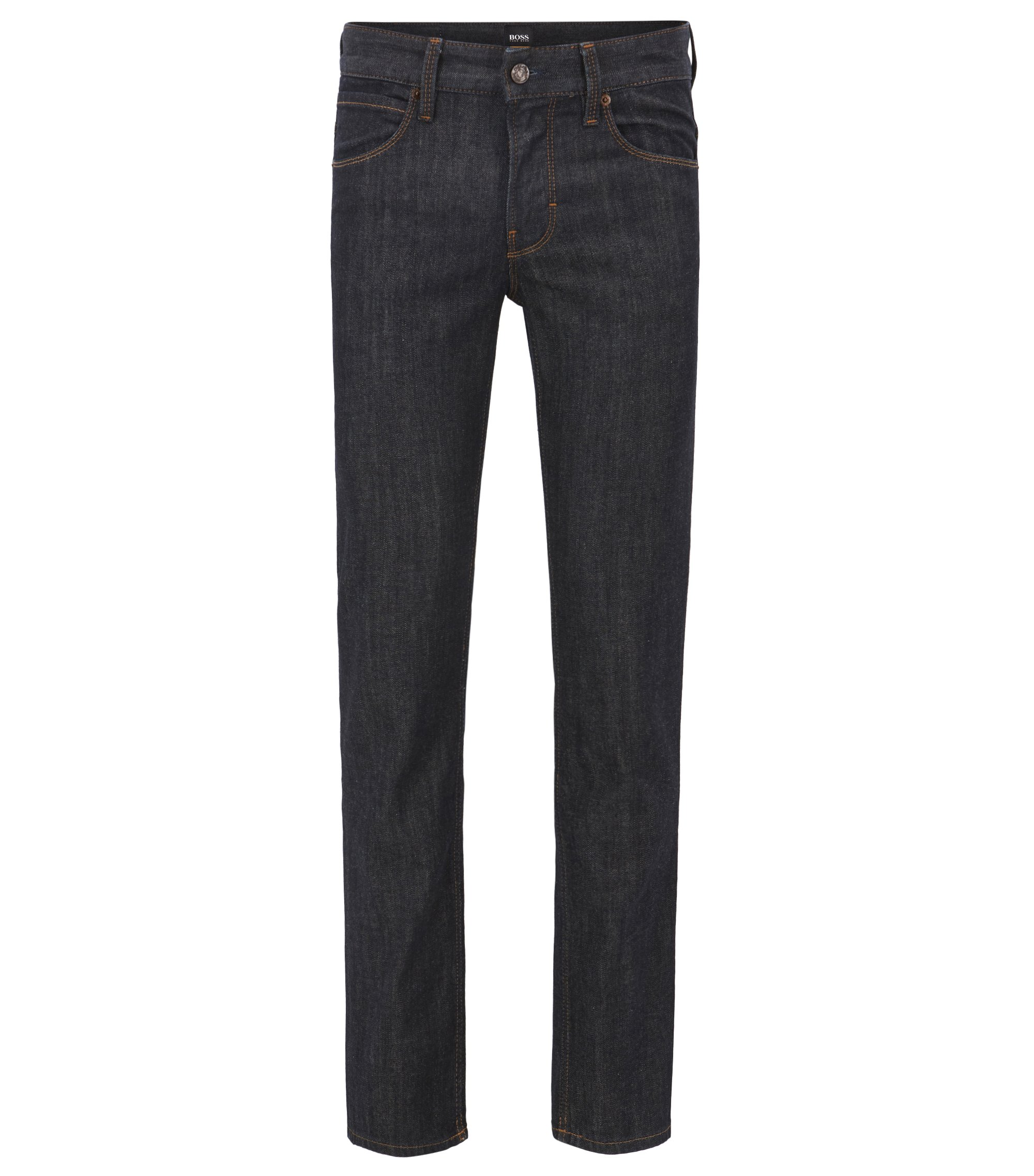 Slim fit jeans in soft stone-washed denim , Dark Blue