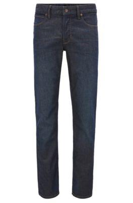 Jeans Slim Fit en denim indigo stretch, Bleu foncé