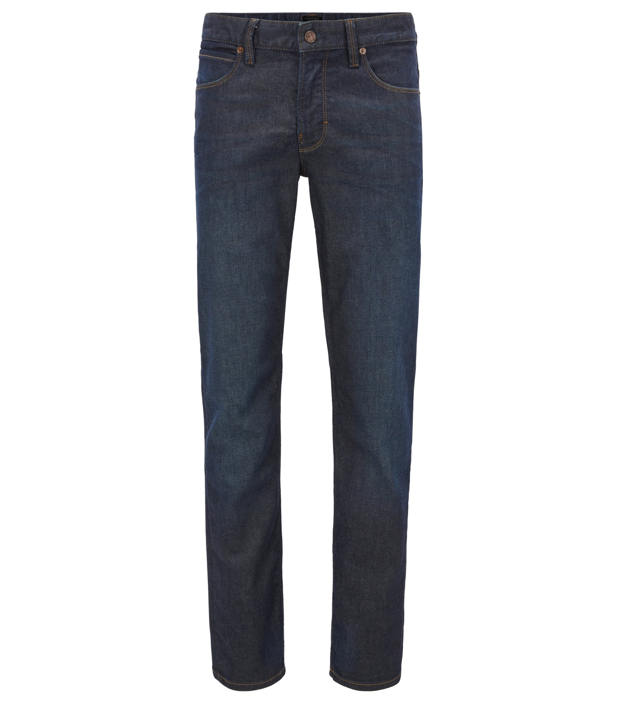 Jeans Slim Fit en denim indigo stretch, Bleu foncé