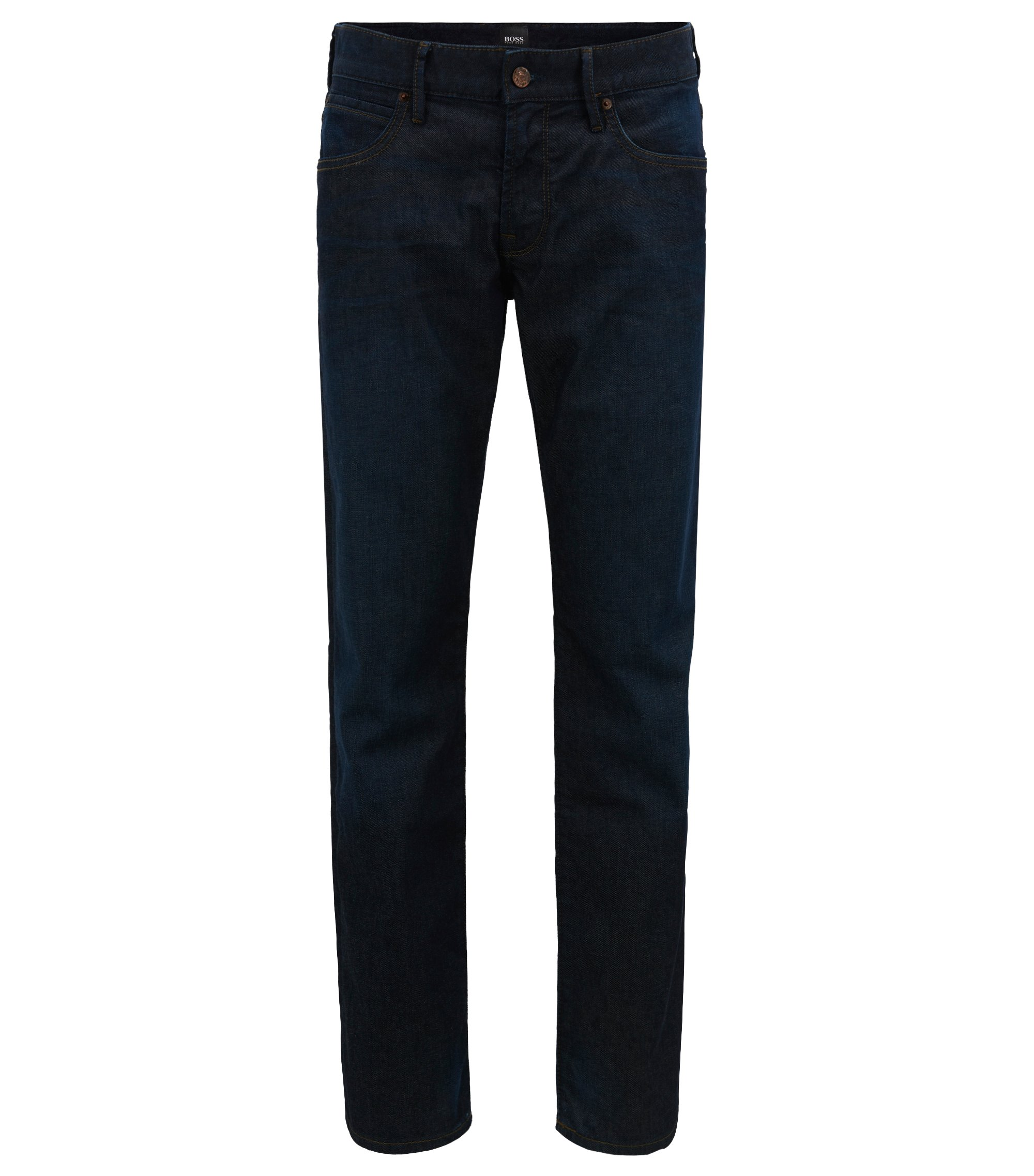Jeans Regular Fit en denim indigo stretch, Bleu foncé