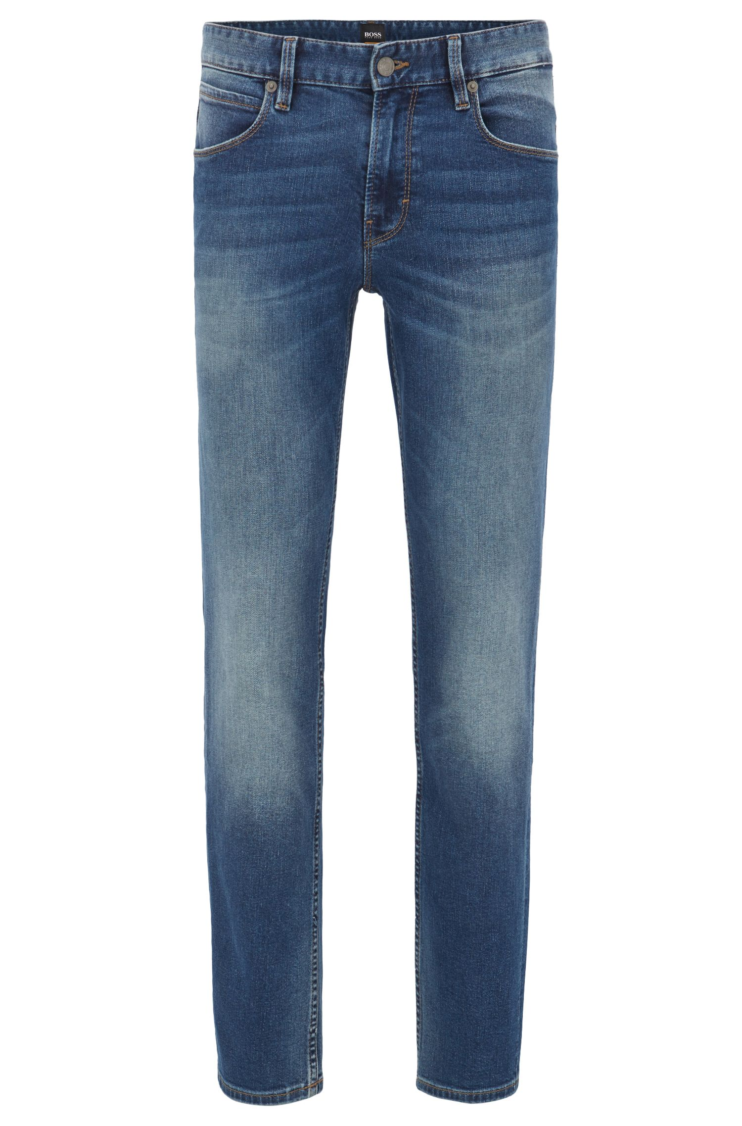 Slim-fit jeans van washed indigo denim