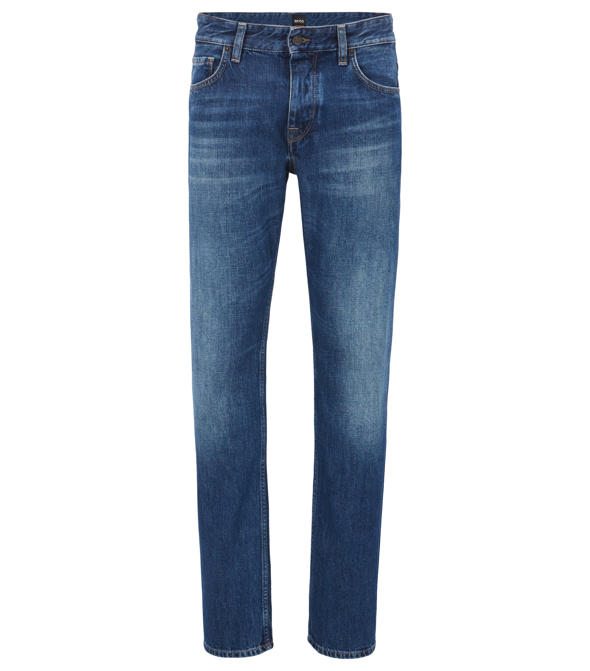 Slim-fit dark-blue stretch denim jeans with internal pattern BOSS