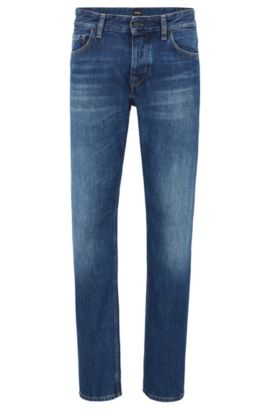 Regular-fit stonewashed jeans met gelaserde distressed-effecten van BOSS Orange, Blauw