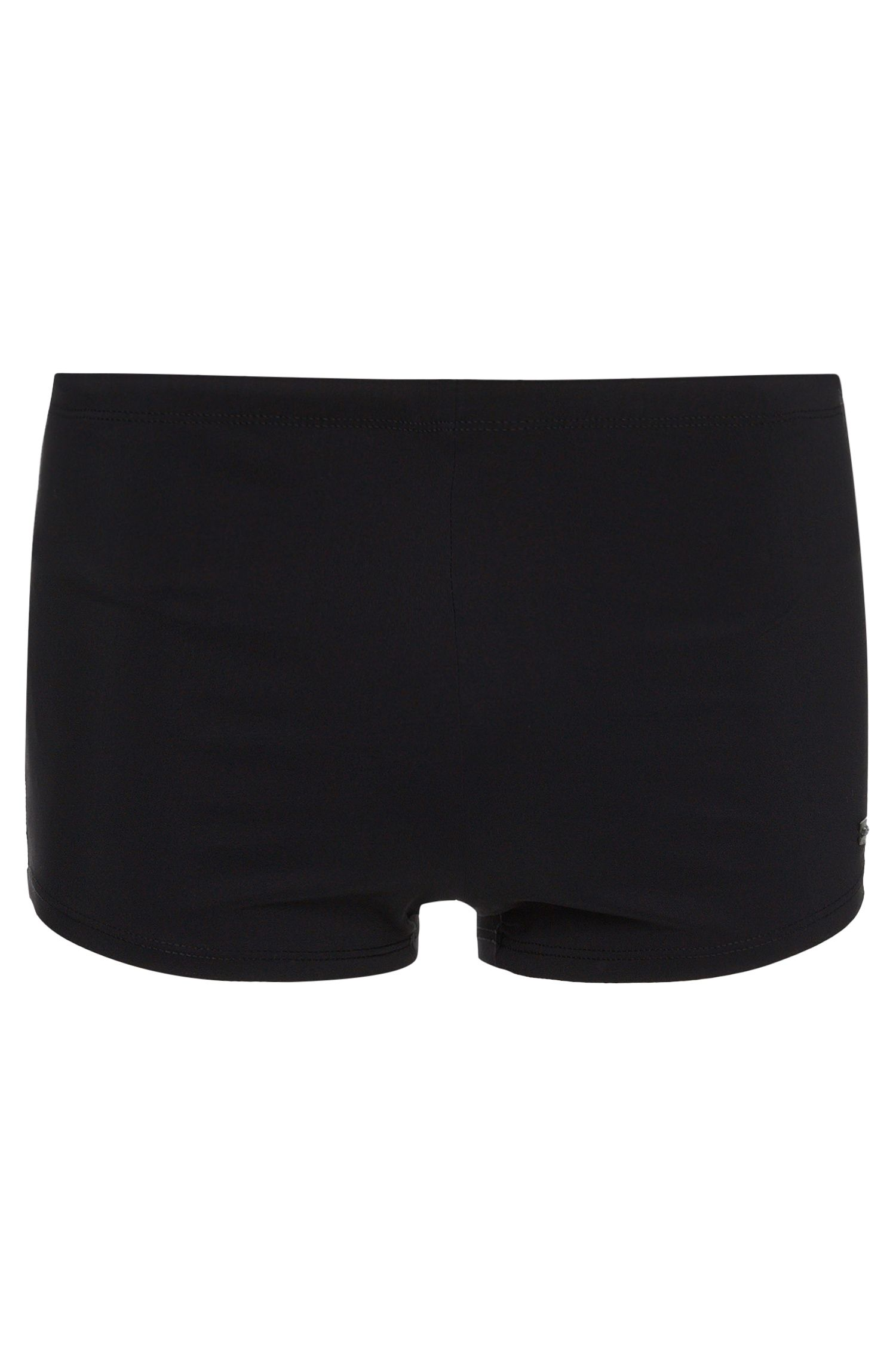 Drawstring swim briefs with logo plate