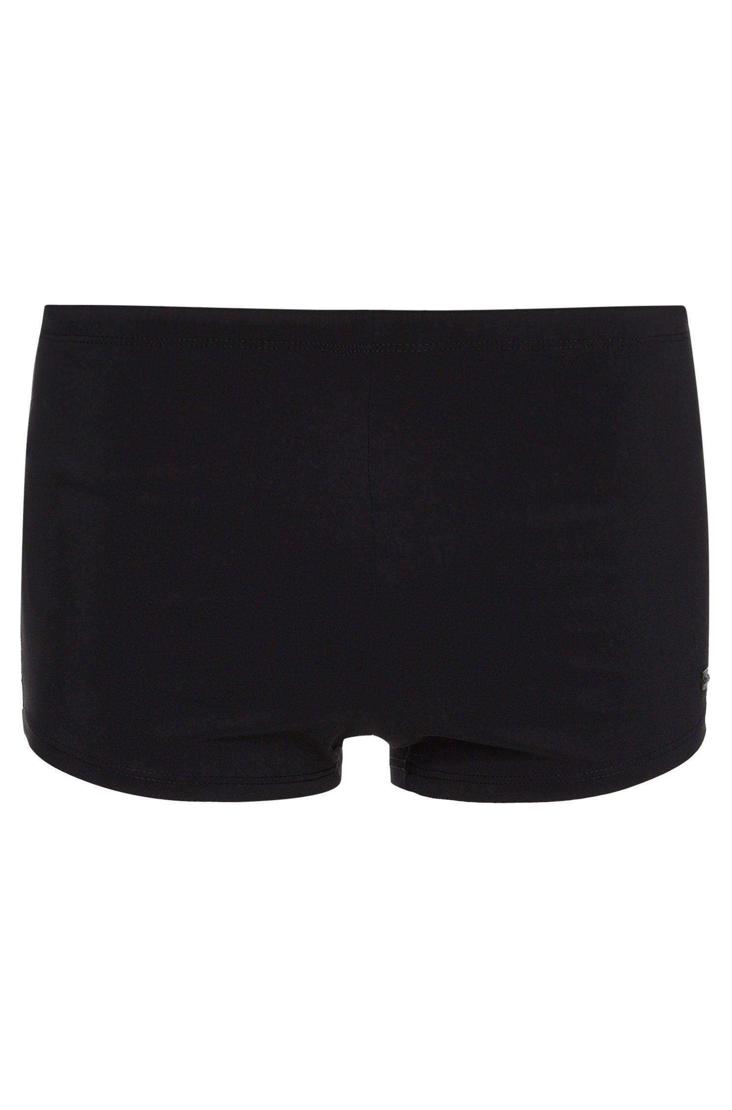 Bañador short con cordón en la cintura y placa con logo , Negro