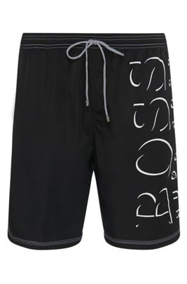 Logo-print swim shorts in technical fabric, Black