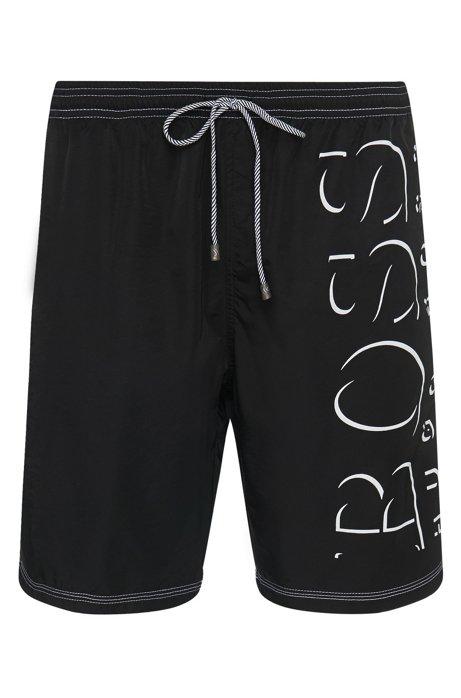 Logo-print swim shorts in technical fabric, Black