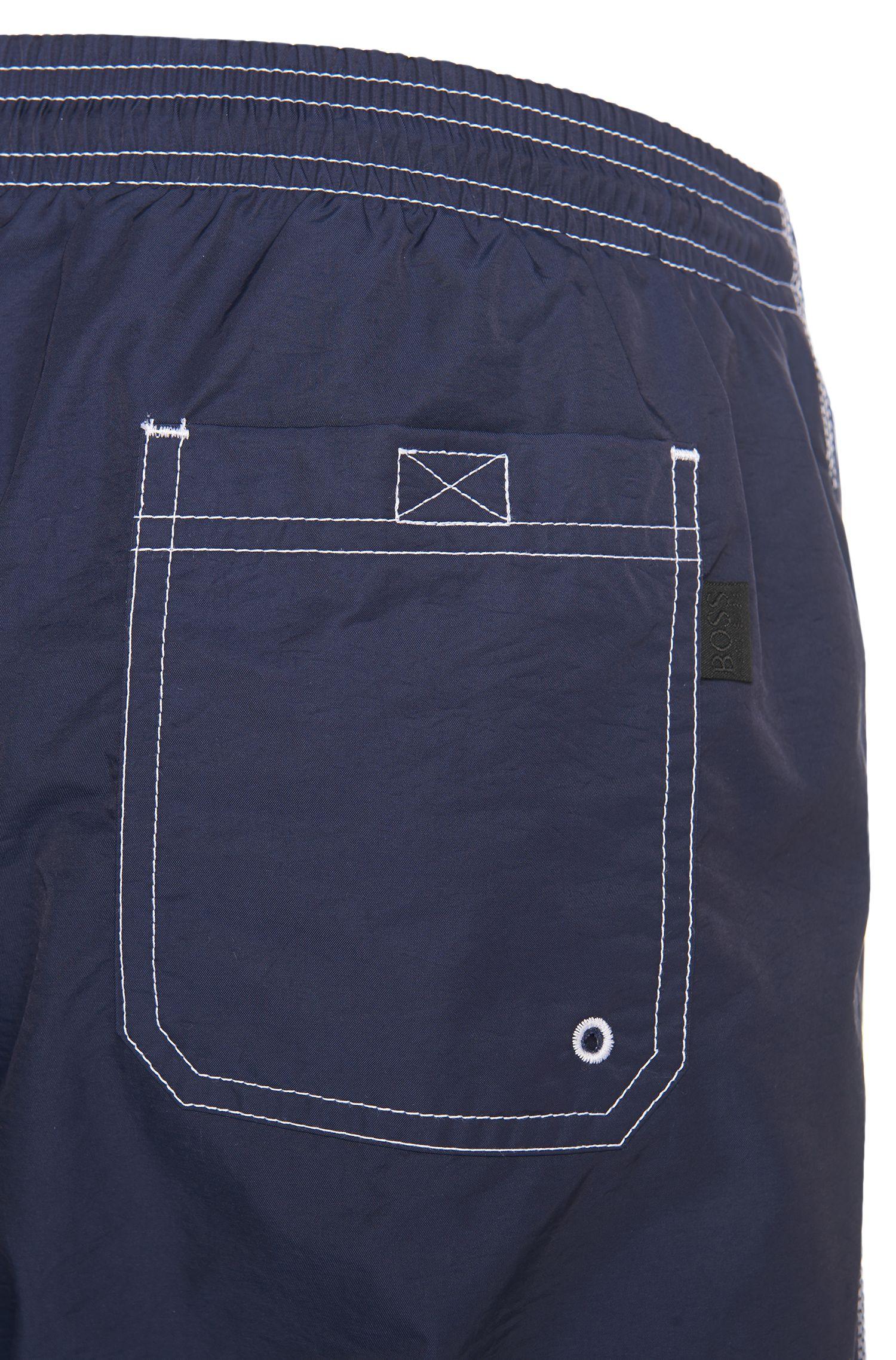 Logo-print swim shorts in technical fabric, Dark Blue