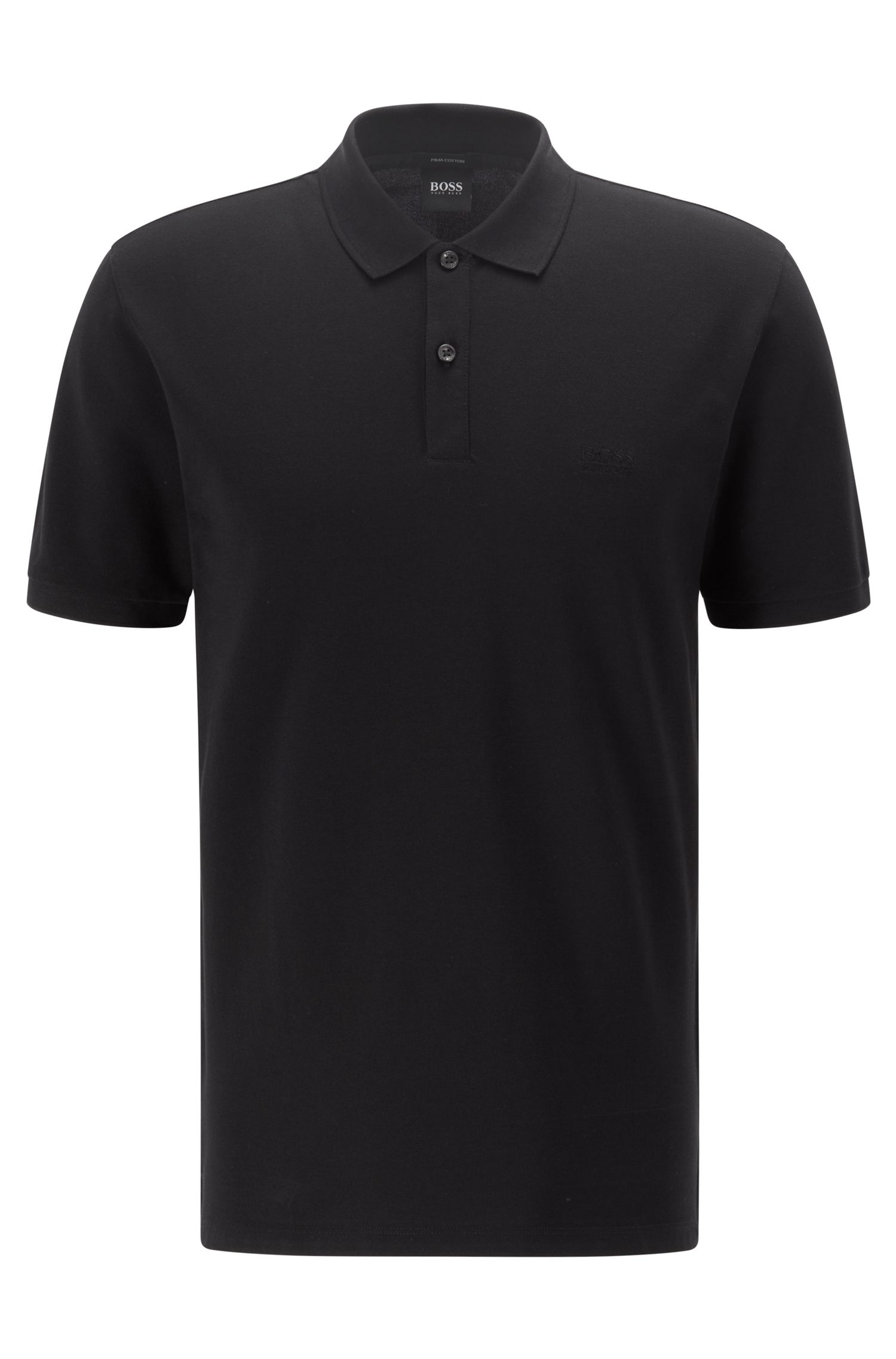 Polo regular fit en piqué fino, Negro