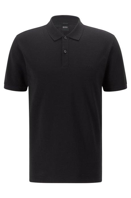 Regular-fit polo shirt in fine piqué, Black