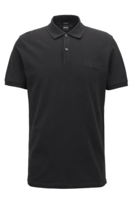 Polo Regular Fit en piqué fin, Noir